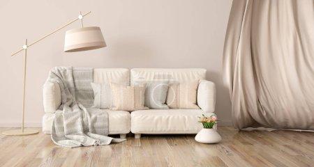 Foto de Diseño interior de sala de estar moderna con sofá y cortina, lámpara de pie de renderizado 3D - Imagen libre de derechos