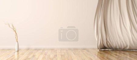 Foto de Fondo interior de salón con Jarrón y cortina, espacio de copia, renderizado 3D - Imagen libre de derechos