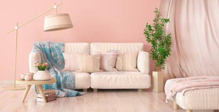Foto de Diseño interior de sala de estar moderna con sofá y cortina, lámpara de pie y mesa de café con tulipanes, renderizado en 3D - Imagen libre de derechos