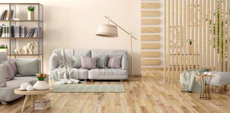 Foto de Diseño interior de sala de estar moderna con sofá gris, estantería con libros y flores, paneles de madera, renderizado en 3D - Imagen libre de derechos