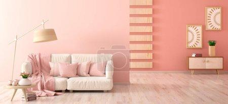 Foto de Diseño interior de la moderna sala de estar con sofá, lámpara de pie y mesa de centro con tulipanes, paneles y armarios de madera, renderizado en 3D - Imagen libre de derechos
