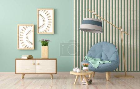 Foto de Diseño interior de la sala de estar moderna con sillón, mesa de centro con libros y tulipán, renderizado 3D - Imagen libre de derechos