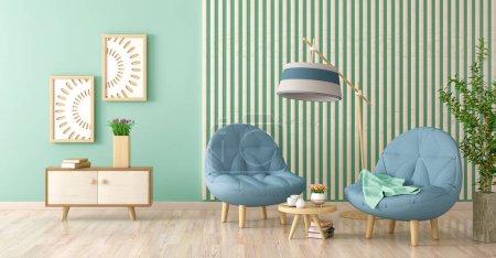 Foto de Diseño interior de la sala de estar moderna con dos sillones, mesa de centro con libros y plantas, renderizado 3D - Imagen libre de derechos