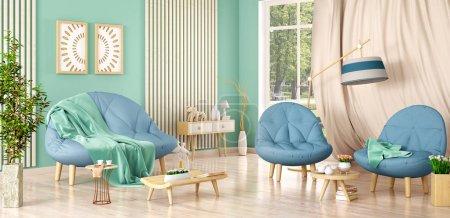 Foto de Diseño interior de la sala de estar moderna con sofá y dos sillones, mesa de centro con libros y plantas, renderizado 3D - Imagen libre de derechos