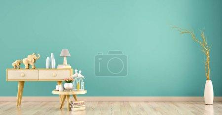 Foto de Fondo interior de la sala de estar con armario y mesa de centro, rama 3d renderizado - Imagen libre de derechos