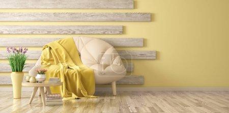 Foto de Diseño interior de la sala de estar moderna con sofá y mesa de centro, renderizado 3D de flores - Imagen libre de derechos