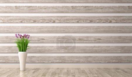 Foto de Fondo interior del salón con paneles de madera y vaso con representación 3d de la rama - Imagen libre de derechos