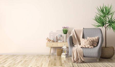 Foto de Diseño interior de la sala de estar moderna con sillón, a cuadros y almohadas, armario con decoración, renderin 3d - Imagen libre de derechos