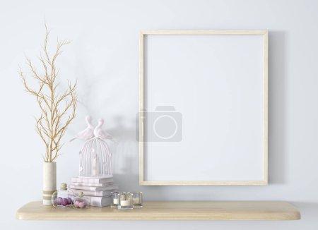 Foto de Rama en jarrón blanco en el estante de madera con marco y decoración de fondo 3d renderizado - Imagen libre de derechos