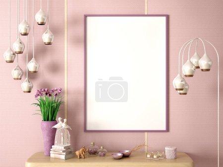 Foto de Flor en jarrón en el estante de madera con marco y decoración, lámpara de pie y fondo de pared rosa 3d renderizado - Imagen libre de derechos