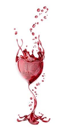 Foto de Copa de vino tinto con salpicaduras sobre fondo blanco, renderizado abstracto aislado en 3D - Imagen libre de derechos