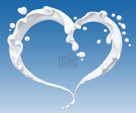 Foto de Salpicadura de fondo abstracto de leche, corazón de leche aislado renderizado 3D - Imagen libre de derechos