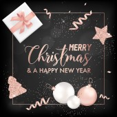 Elegant Merry Christmas Card with Rose Gold Christmas Tree Balls Stars Gifts for Invitation Greetings or Flyer and New Year Brochure 2019