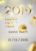 Abstract Golden 2019 New Year background of modern liquid graphic elements Dynamic banner with flowing shapes Template for card poster flyer presentation banner Vector illustration