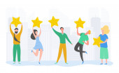 People characters holding gold stars Men and women rate services and user experience Juries rating in the competition Four stars positive review or good feedback Vector cartoon illustration