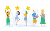 People characters holding gold stars Men and women rate services and user experience Juries rating in the competition Three stars positive review not good feedback Vector cartoon illustration