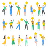 Set of people characters holding gold stars Men and women rate services and user experience Juries rating in the competition