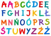 Cartoon Illustration of The Entire Colorful Polish Alphabet Letters Set with All Diacritical Signs