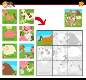 Cartoon Illustration of Educational Jigsaw Puzzle Activity Game for Children with Farm Animals