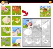 Cartoon Illustration of Educational Jigsaw Puzzle Game for Kids with Farm Animals Group