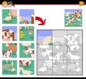 Cartoon Illustration of Educational Jigsaw Puzzle Game for Kids with Farm Animals
