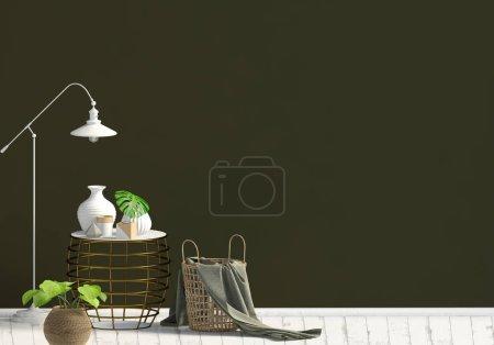 Photo pour Intérieur moderne avec table basse. Mur maquillé. Illustration 3d . - image libre de droit