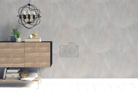 Photo for Modern interior design in Scandinavian style. Mock up wall. 3D illustration. - Royalty Free Image