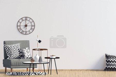 Photo pour Intérieur moderne avec chaise. Mur de faux vers le haut. illustration 3D. - image libre de droit