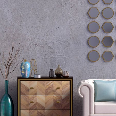 Photo for Modern interior with dresser and chair. Wall mock up. 3d illustration. - Royalty Free Image
