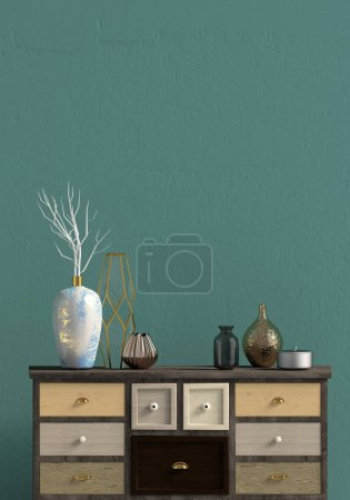 Photo for Modern interior with dresser. Wall mock up. 3d illustration. - Royalty Free Image