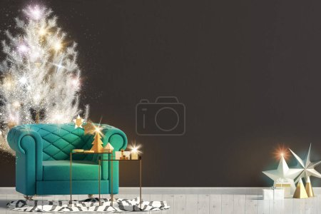 Photo for Modern shining Christmas interior with chair, Scandinavian style. Wall mock up. 3D illustration - Royalty Free Image