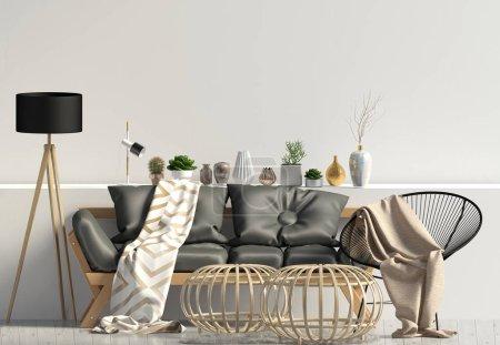 Photo pour Intérieur moderne avec canapé. Mur maquillé. Illustration 3d . - image libre de droit