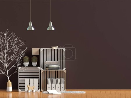 Photo for Modern interior in the style scandinavian, a place for storage. 3D illustration. Wall mock up - Royalty Free Image