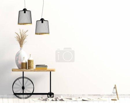 Photo pour Design d'intérieur dans un style champêtre. Un faux mur. Illustration 3D . - image libre de droit