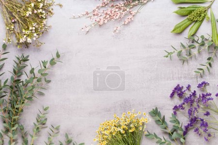 Photo for Spa cosmetic products concept, spa background with a space for a text, flat lay, view from above. - Royalty Free Image