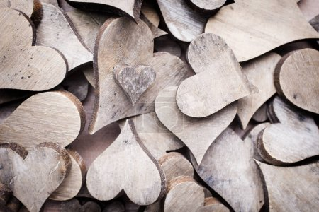 Photo for Wooden hearts rustic style. Greeting card. - Royalty Free Image