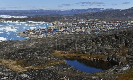 View over Ice Fjord in Disco Bay, Ilulissat. Greenland.
