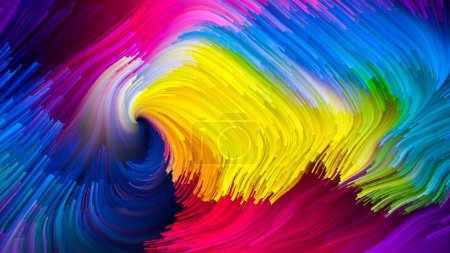 Color In Motion series. Backdrop composed of liquid paint pattern and suitable for use in the projects on design, creativity and imagination to use as wallpaper for screens and devices