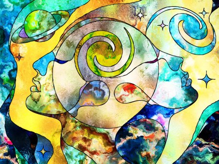 Stained Glass Forever series. Soul mate heads looking up, surrounded by colorful patterns and symbols of the Universe on the subject of knowledge, internal reality and mutual unity.