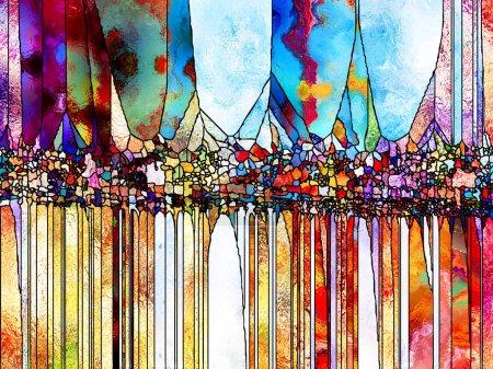 Vidrieras para siempre. Composición de líneas, formas y patrones de color sobre el tema del diseño, creatividad e imaginación