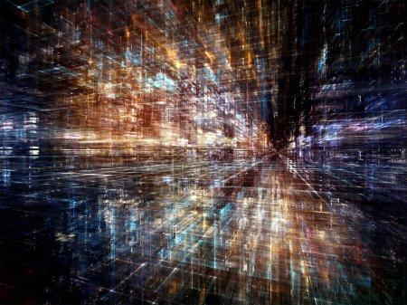 Foto de Serie de ciudad digital. Diseño de tres dimensiones fractales y las luces como telón de fondo para proyectos relacionados con ordenadores, ciencia, realidad virtual y tecnología moderna - Imagen libre de derechos