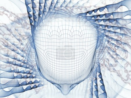 3D Rendering - Mind Field series. Visually pleasing composition of head of wire mesh human model and fractal patters for topics on artificial intelligence, science and technology