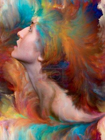 Foto de Dentro de la serie exterior. Diseño de fondo de retrato femenino fusionado con pintura vibrante sobre el tema de sentimientos, emociones, mundo interior, creatividad e imaginación - Imagen libre de derechos