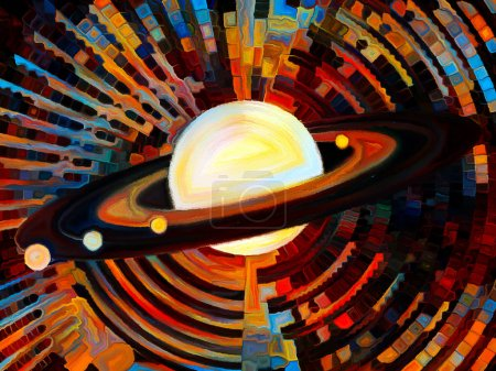 Stained Glass Forever series. Planet disk with rings surrounded by multicolored mosaic pattern on the subject of astronomy, science and Nature.