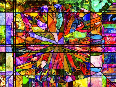 Stained Glass series. Artistic abstraction composed of organic patterns on the subject of spirituality, imagination, creativity and art