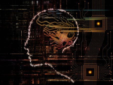 CPU Mind series. Background design of human face silhouette and technology symbols on the subject of computer science, artificial intelligence and communications
