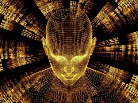 Photo pour Série Radiating Mind. rendu 3D composé de treillis métallique modèle de tête humaine et de motif fractal comme métaphore sur le sujet de l'esprit humain, l'intelligence artificielle et la réalité virtuelle - image libre de droit