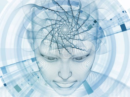 3D Rendering - Mind Field series. Composition of  head of wire mesh human model and fractal patters for projects on artificial intelligence, science and technology