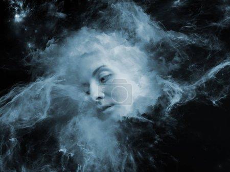 Photo pour Will Universe Remember Me. Conception de fond du visage humain et nébuleuse de fumée fractale sur le sujet de l'esprit humain, l'imagination, la mémoire et les rêves - image libre de droit