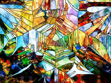 Stained Glass Forever series. Arrangement of lines, shapes and color patterns on the subject of design, creativity and imagination